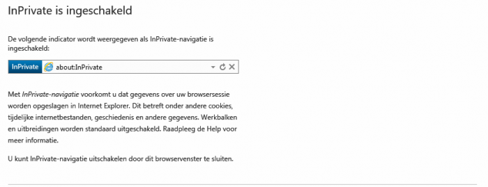 inprivate is ingeschakeld