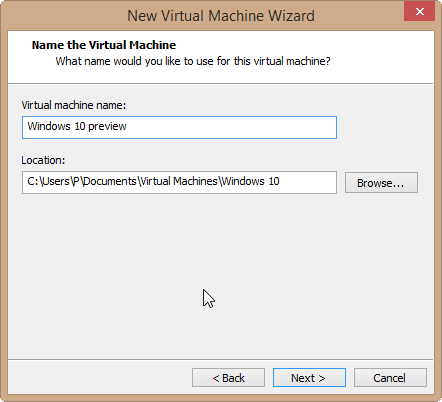 create a new virtual machine wizard
