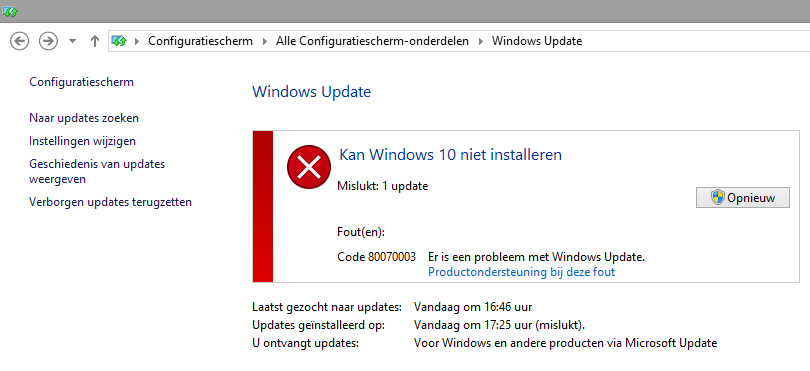 update naar windows 10 is mislukt