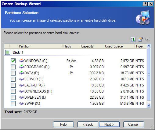 Windowscorner een systeemback up maken met true image van acronis een systeemback up maken - Een verwijderbare partitie maken ...