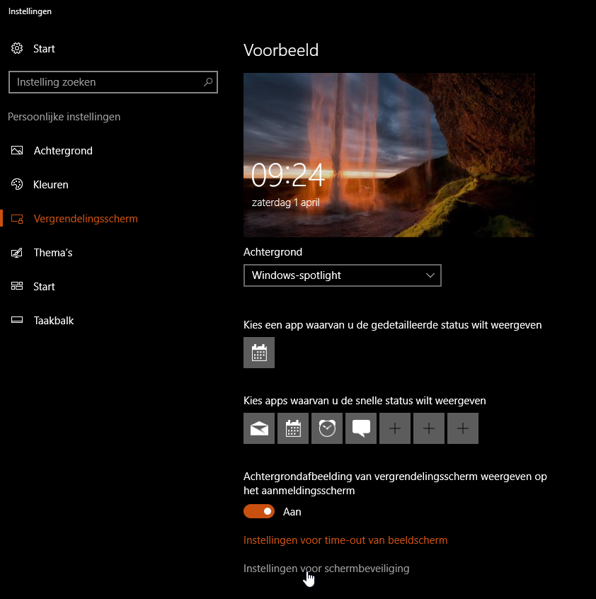 screensaver instellen voor Windows 10